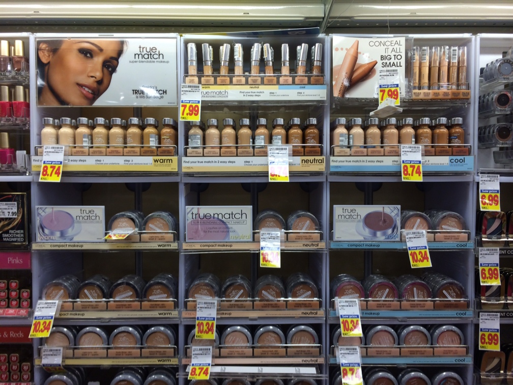 Cosmetic display with effective color coding